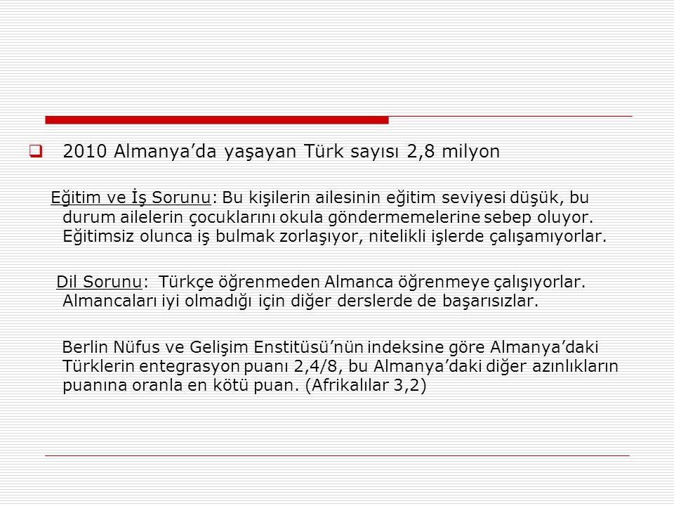 2010 Almanya'da yaşayan Türk sayısı 2,8 milyon