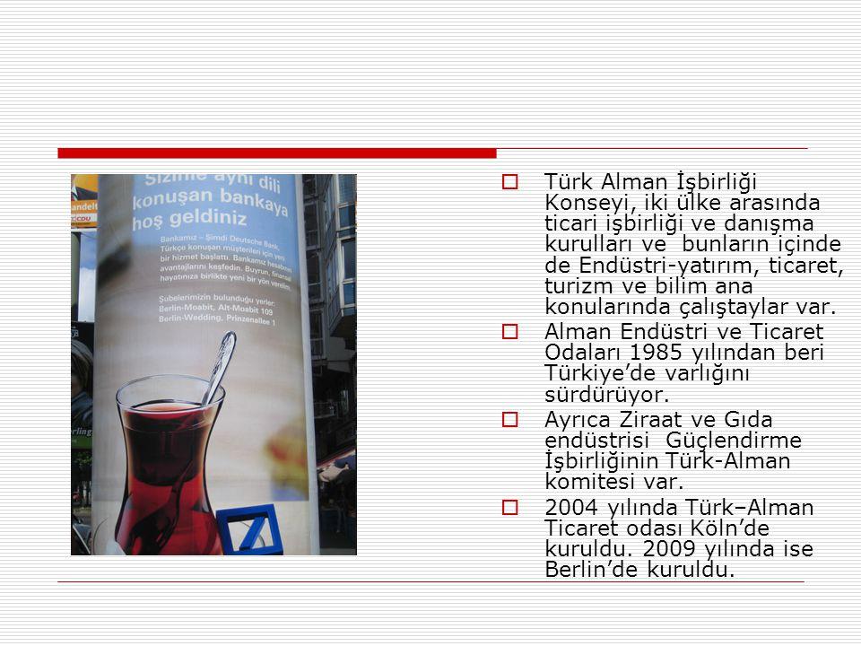 Türk Alman İşbirliği Konseyi, iki ülke arasında ticari işbirliği ve danışma kurulları ve bunların içinde de Endüstri-yatırım, ticaret, turizm ve bilim ana konularında çalıştaylar var.