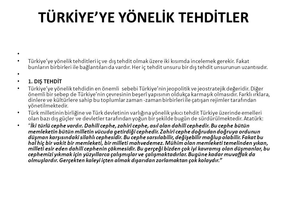 TÜRKİYE'YE YÖNELİK TEHDİTLER