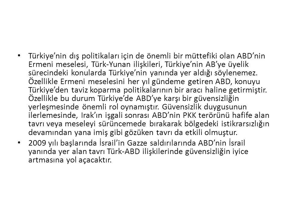 Türkiye'nin dış politikaları için de önemli bir müttefiki olan ABD'nin Ermeni meselesi, Türk-Yunan ilişkileri, Türkiye'nin AB'ye üyelik sürecindeki konularda Türkiye'nin yanında yer aldığı söylenemez. Özellikle Ermeni meselesini her yıl gündeme getiren ABD, konuyu Türkiye'den taviz koparma politikalarının bir aracı haline getirmiştir. Özellikle bu durum Türkiye'de ABD'ye karşı bir güvensizliğin yerleşmesinde önemli rol oynamıştır. Güvensizlik duygusunun ilerlemesinde, Irak'ın işgali sonrası ABD'nin PKK terörünü hafife alan tavrı veya meseleyi sürüncemede bırakarak bölgedeki istikrarsızlığın devamından yana imiş gibi gözüken tavrı da etkili olmuştur.