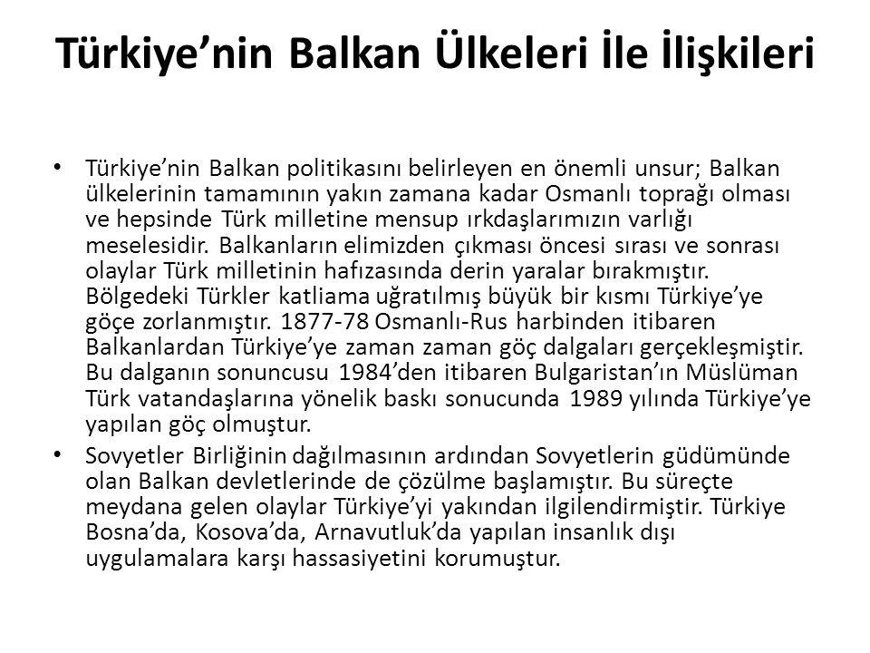 Türkiye'nin Balkan Ülkeleri İle İlişkileri
