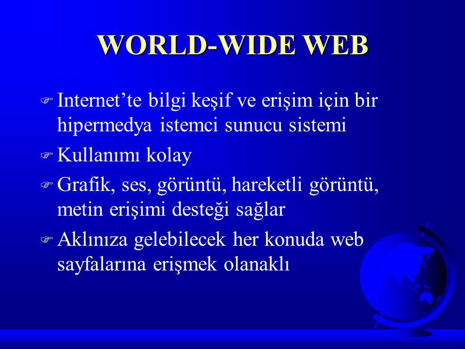 WORLD-WIDE WEB Internet'te bilgi keşif ve erişim için bir hipermedya istemci sunucu sistemi. Kullanımı kolay.