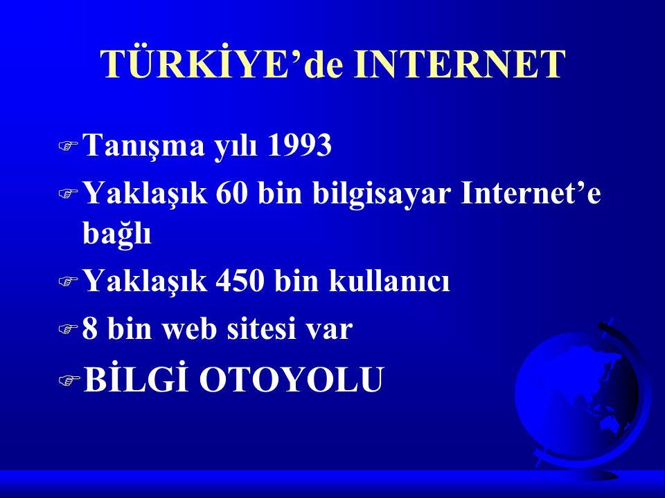 TÜRKİYE'de INTERNET BİLGİ OTOYOLU Tanışma yılı 1993