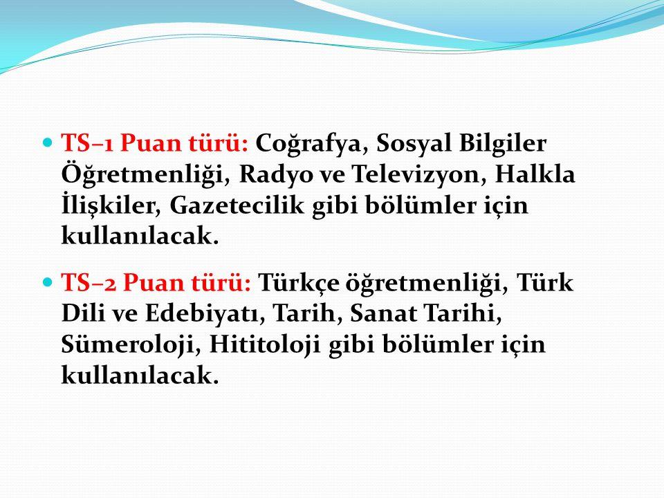 TS–1 Puan türü: Coğrafya, Sosyal Bilgiler Öğretmenliği, Radyo ve Televizyon, Halkla İlişkiler, Gazetecilik gibi bölümler için kullanılacak.