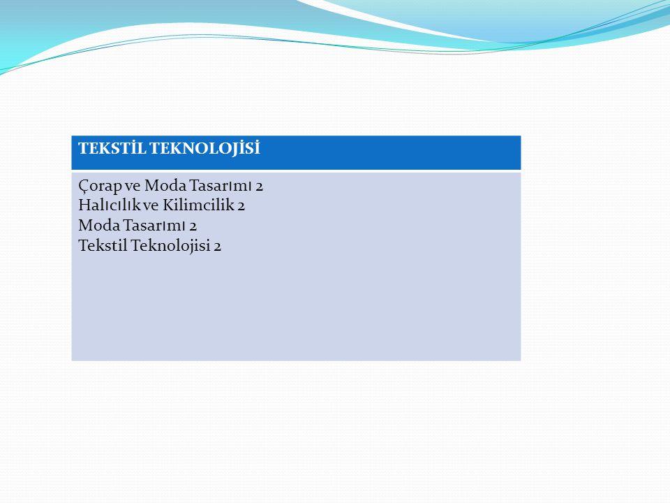 TEKSTİL TEKNOLOJİSİ Çorap ve Moda Tasarımı 2. Halıcılık ve Kilimcilik 2.