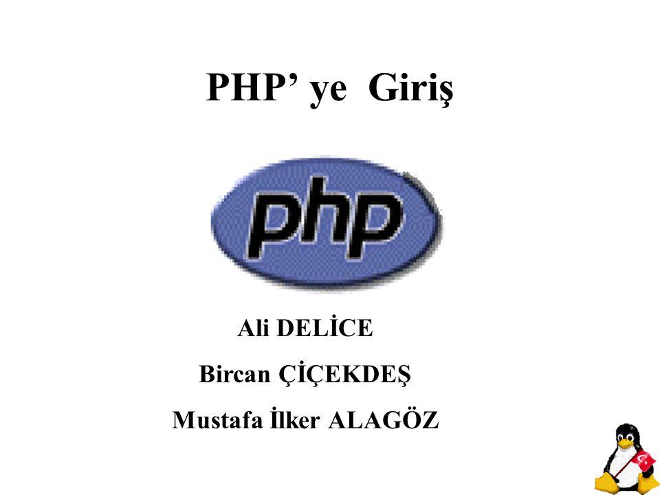 PHP' ye Giriş Ali DELİCE Bircan ÇİÇEKDEŞ Mustafa İlker ALAGÖZ