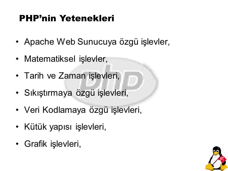 PHP'nin Yetenekleri Apache Web Sunucuya özgü işlevler, Matematiksel işlevler, Tarih ve Zaman işlevleri,
