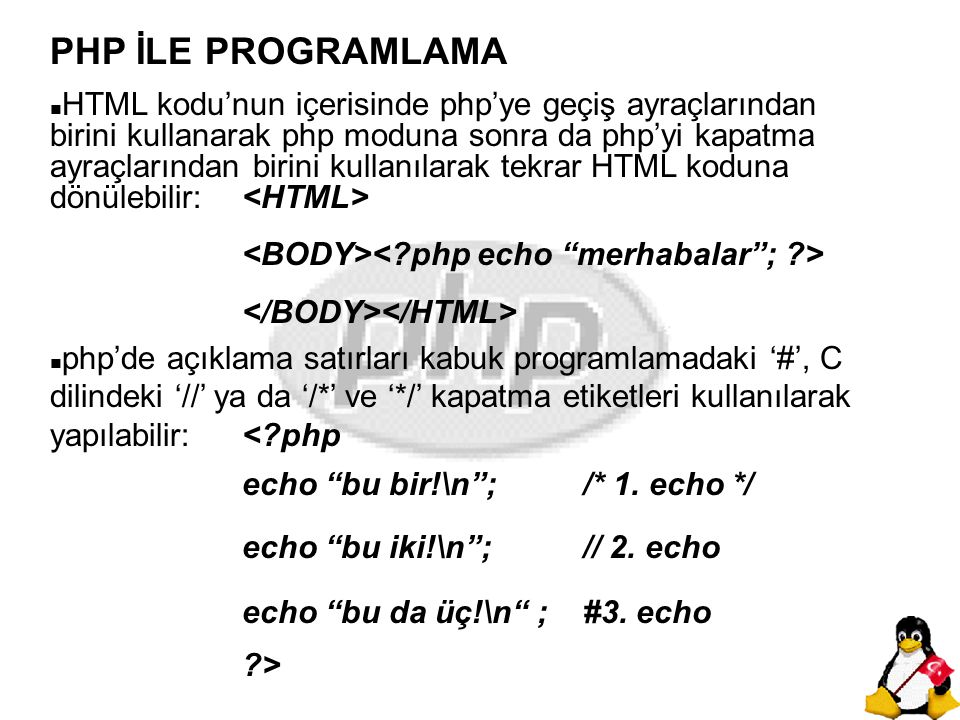 PHP İLE PROGRAMLAMA