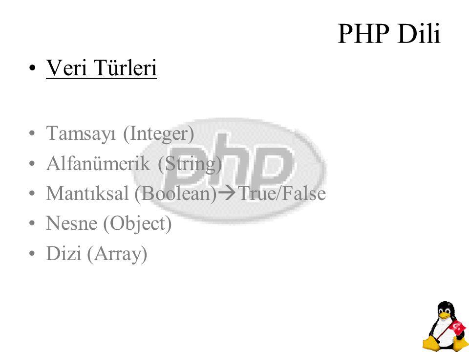 PHP Dili Veri Türleri Tamsayı (Integer) Alfanümerik (String)