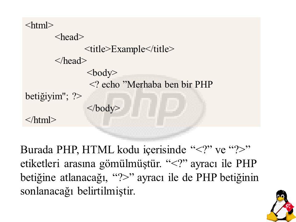 <html> <head> <title>Example</title> </head> <body> < echo Merhaba ben bir PHP betiğiyim ; >