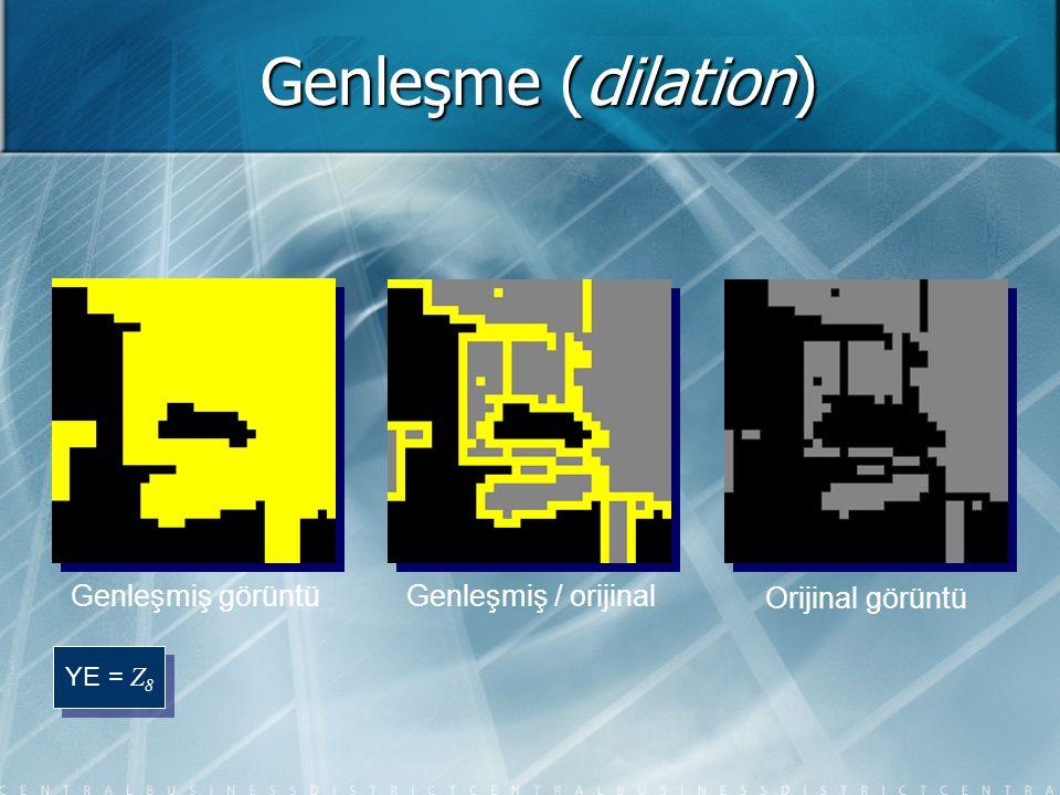 Genleşme (dilation) Genleşmiş görüntü Genleşmiş / orijinal