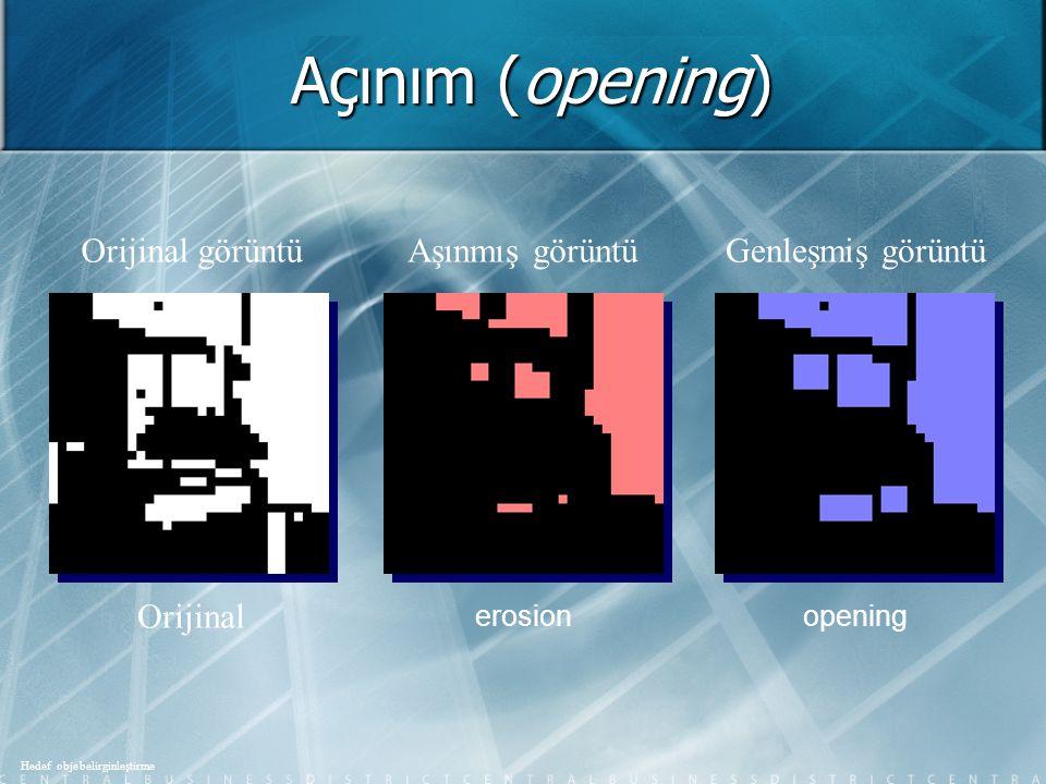 Açınım (opening) Orijinal görüntü Aşınmış görüntü Genleşmiş görüntü