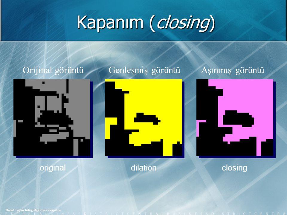Kapanım (closing) Orijinal görüntü Genleşmiş görüntü Aşınmış görüntü