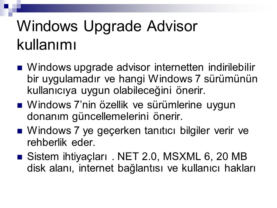 Windows Upgrade Advisor kullanımı