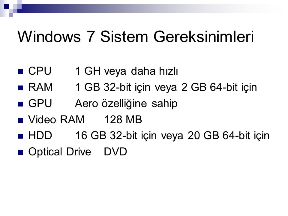 Windows 7 Sistem Gereksinimleri