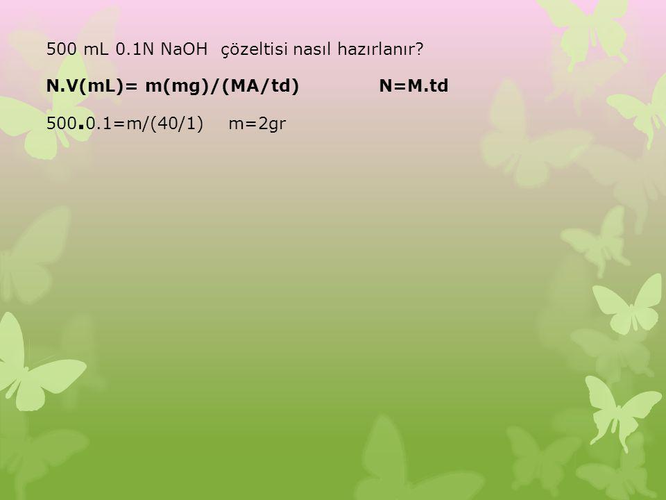 500 mL 0.1N NaOH çözeltisi nasıl hazırlanır