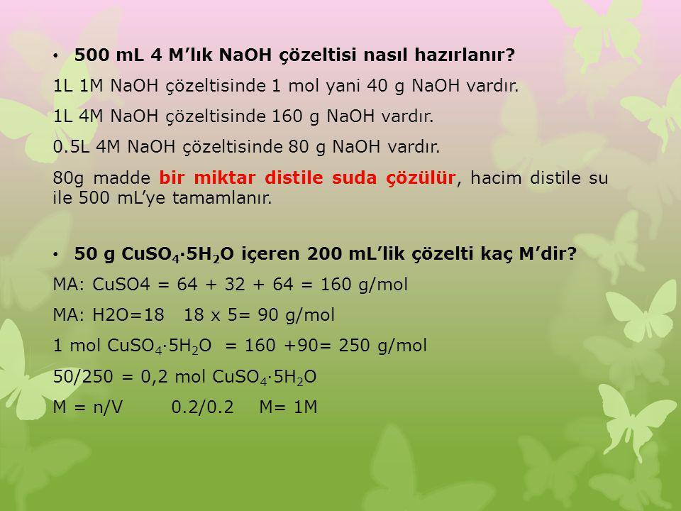 500 mL 4 M'lık NaOH çözeltisi nasıl hazırlanır