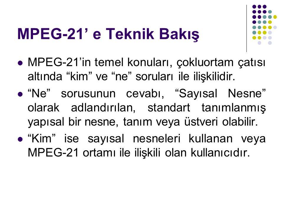 MPEG-21' e Teknik Bakış MPEG-21'in temel konuları, çokluortam çatısı altında kim ve ne soruları ile ilişkilidir.