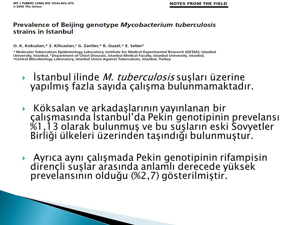 İstanbul ilinde M. tuberculosis suşları üzerine yapılmış fazla sayıda çalışma bulunmamaktadır.