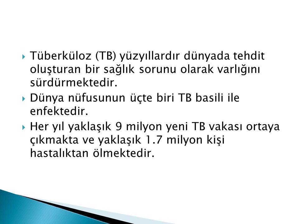 Tüberküloz (TB) yüzyıllardır dünyada tehdit oluşturan bir sağlık sorunu olarak varlığını sürdürmektedir.
