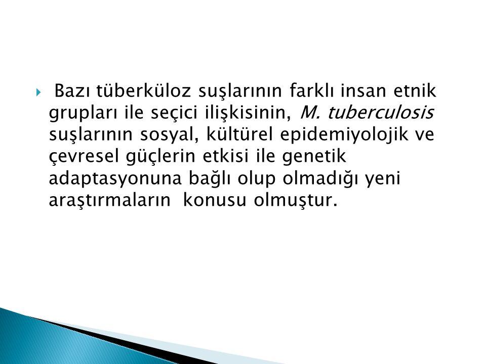 Bazı tüberküloz suşlarının farklı insan etnik grupları ile seçici ilişkisinin, M.