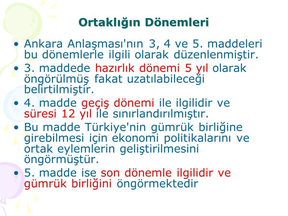 Ortaklığın Dönemleri Ankara Anlaşması nın 3, 4 ve 5. maddeleri bu dönemlerle ilgili olarak düzenlenmiştir.