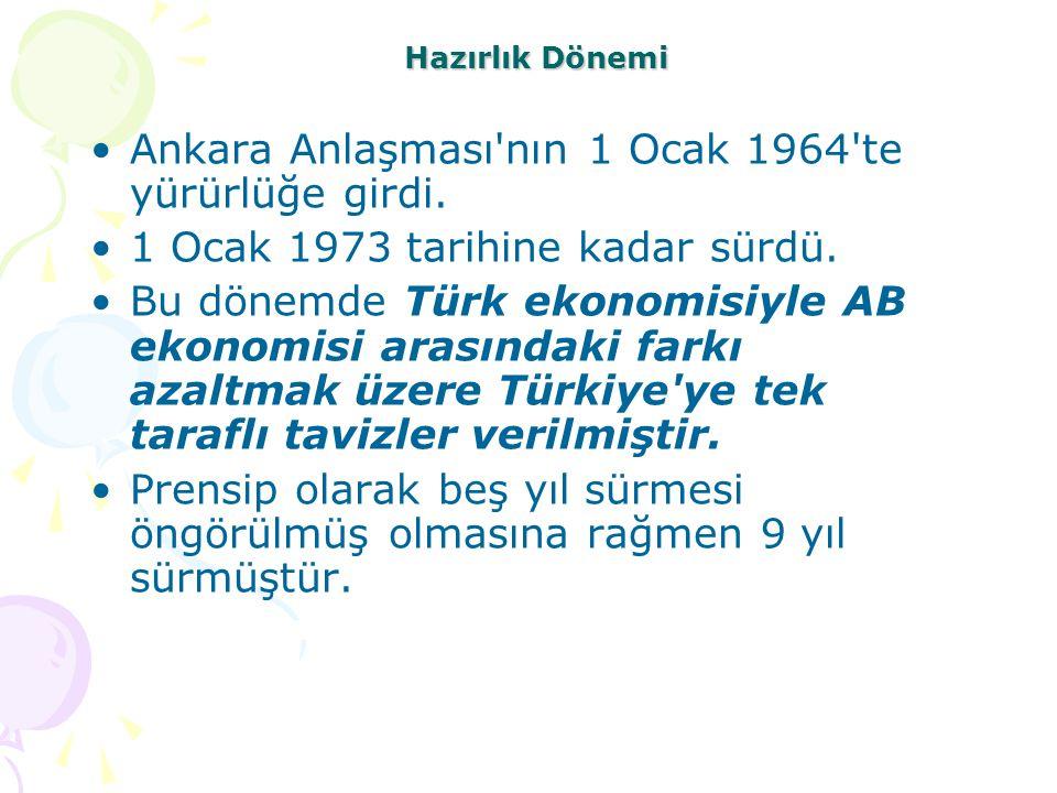 Ankara Anlaşması nın 1 Ocak 1964 te yürürlüğe girdi.