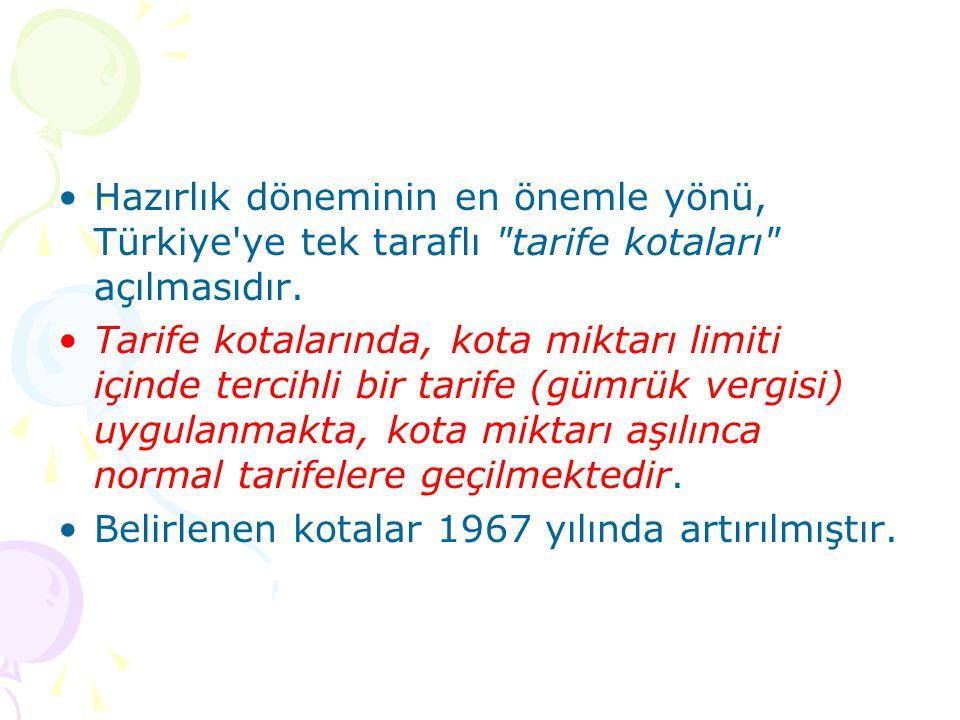 Hazırlık döneminin en önemle yönü, Türkiye ye tek taraflı tarife kotaları açılmasıdır.