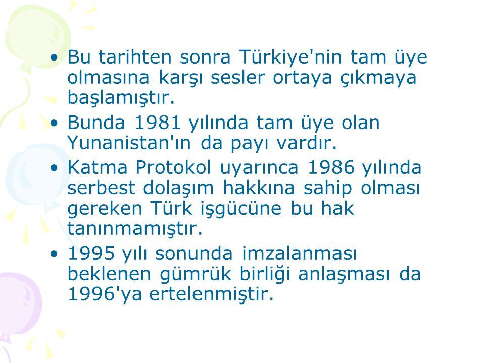 Bu tarihten sonra Türkiye nin tam üye olmasına karşı sesler ortaya çıkmaya başlamıştır.