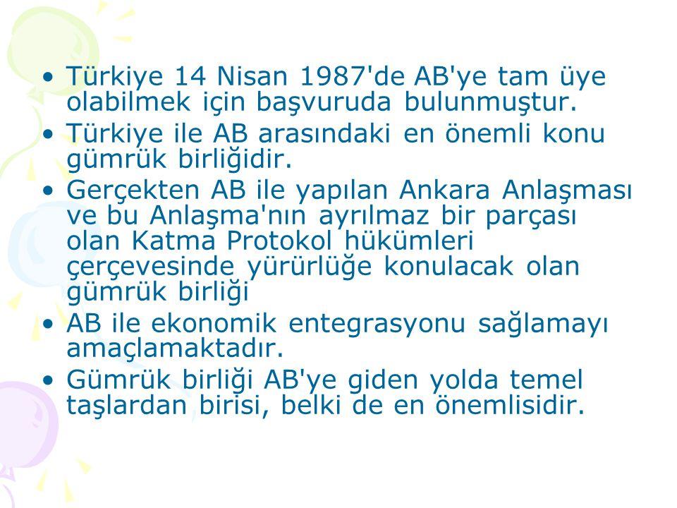 Türkiye 14 Nisan 1987 de AB ye tam üye olabilmek için başvuruda bulunmuştur.