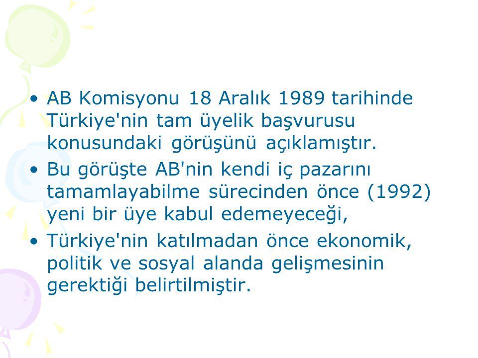 AB Komisyonu 18 Aralık 1989 tarihinde Türkiye nin tam üyelik başvurusu konusundaki görüşünü açıklamıştır.