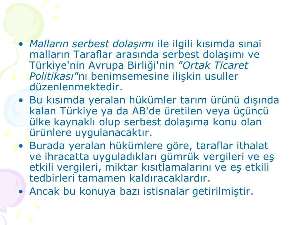 Malların serbest dolaşımı ile ilgili kısımda sınai malların Taraflar arasında serbest dolaşımı ve Türkiye nin Avrupa Birliği nin Ortak Ticaret Politikası nı benimsemesine ilişkin usuller düzenlenmektedir.