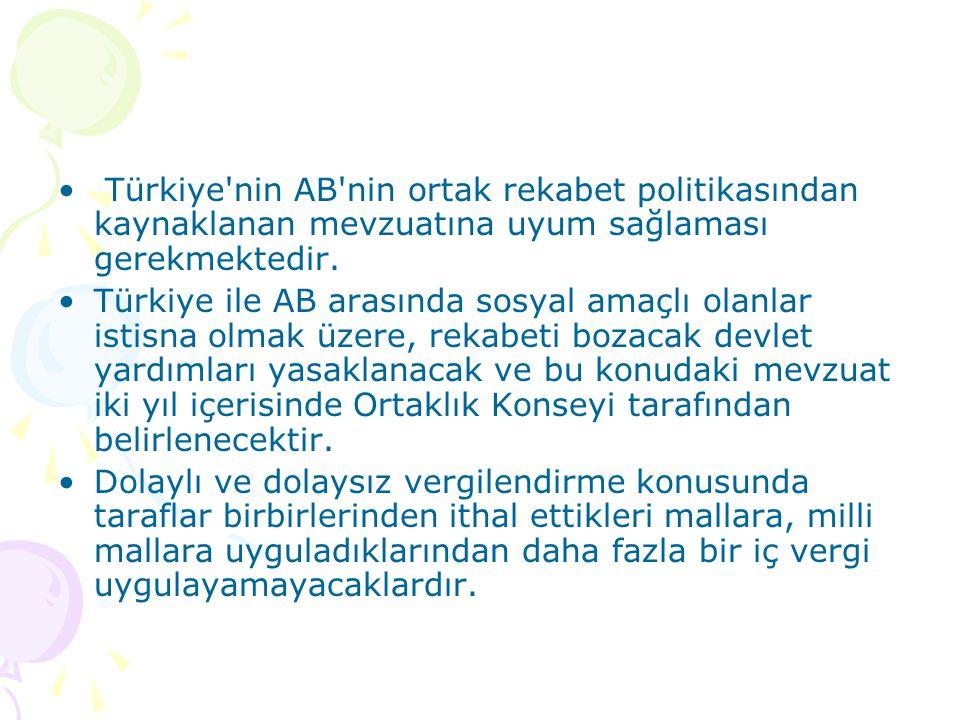 Türkiye nin AB nin ortak rekabet politikasından kaynaklanan mevzuatına uyum sağlaması gerekmektedir.