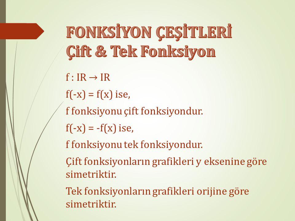 FONKSİYON ÇEŞİTLERİ Çift & Tek Fonksiyon