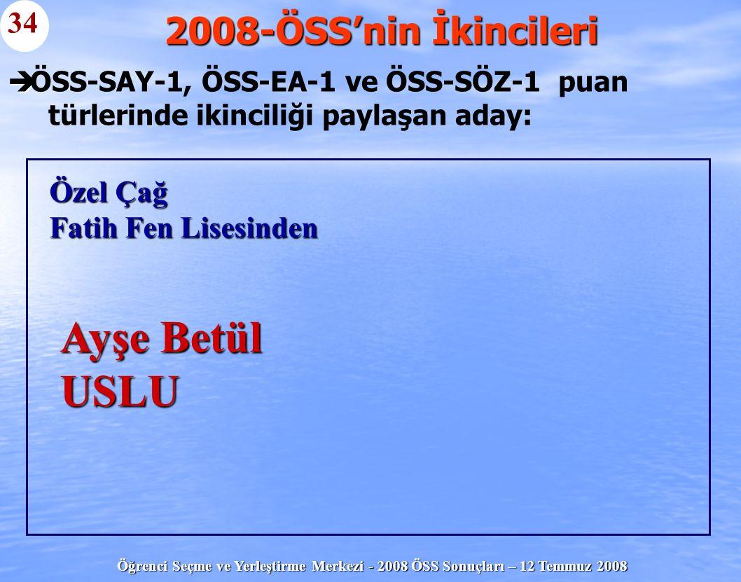 Ayşe Betül USLU 2008-ÖSS'nin İkincileri 34 Özel Çağ