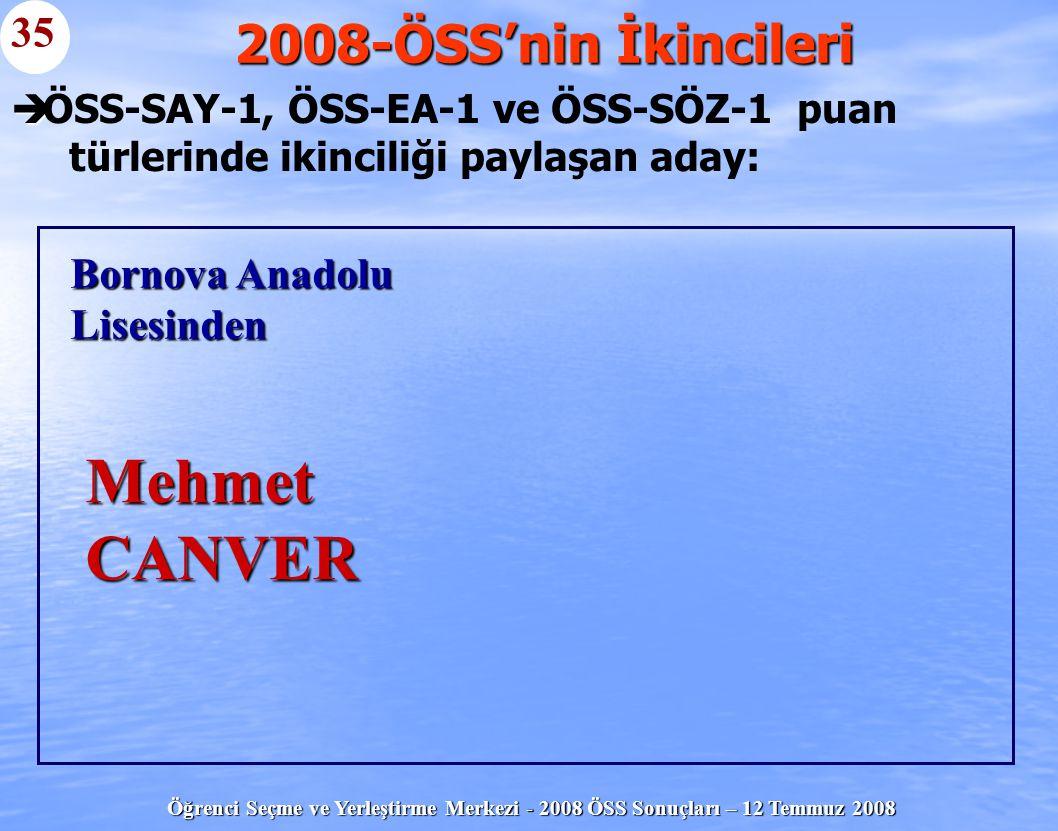 Mehmet CANVER 2008-ÖSS'nin İkincileri 35 Bornova Anadolu Lisesinden