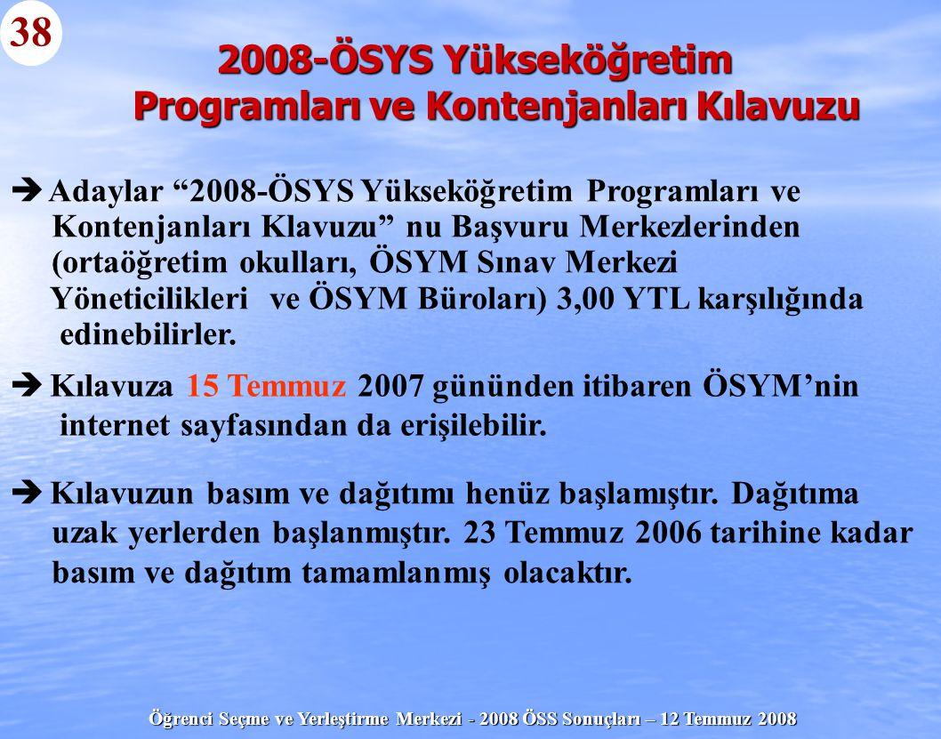 2008-ÖSYS Yükseköğretim Programları ve Kontenjanları Kılavuzu