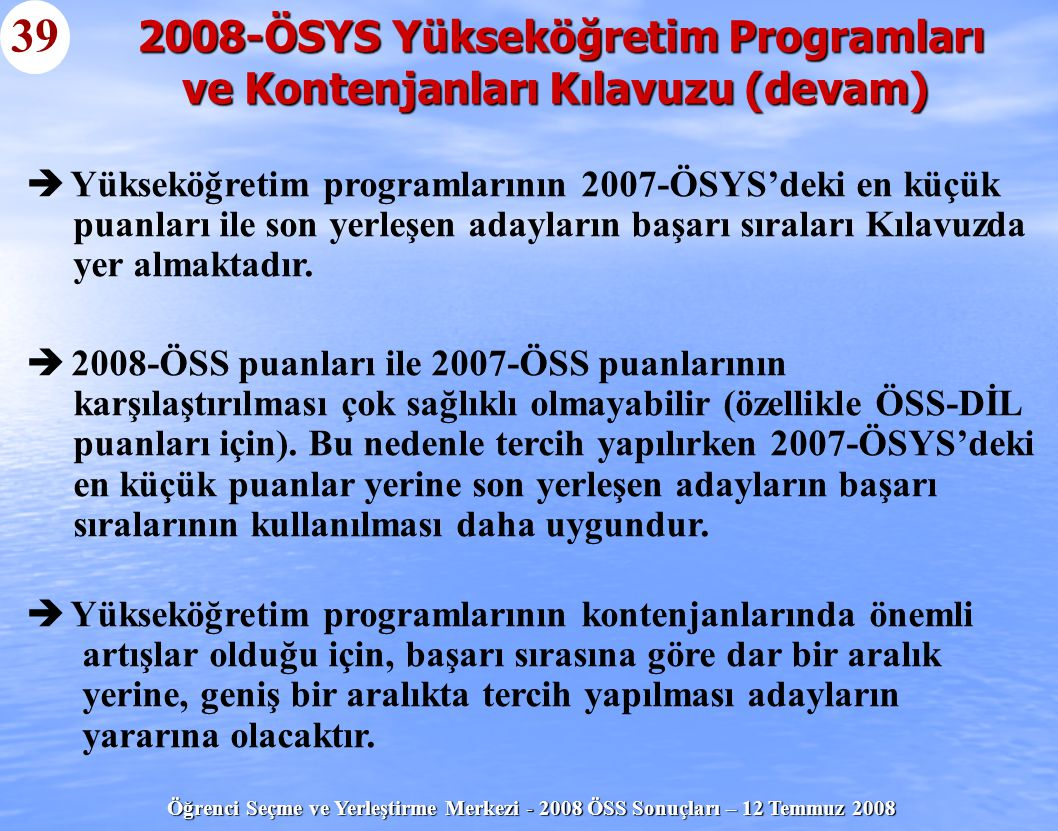 2008-ÖSYS Yükseköğretim Programları ve Kontenjanları Kılavuzu (devam)