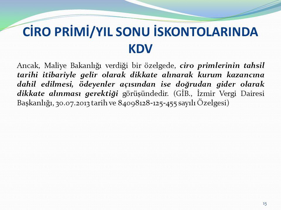 CİRO PRİMİ/YIL SONU İSKONTOLARINDA KDV