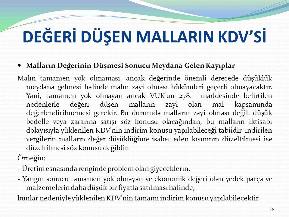 DEĞERİ DÜŞEN MALLARIN KDV'Sİ