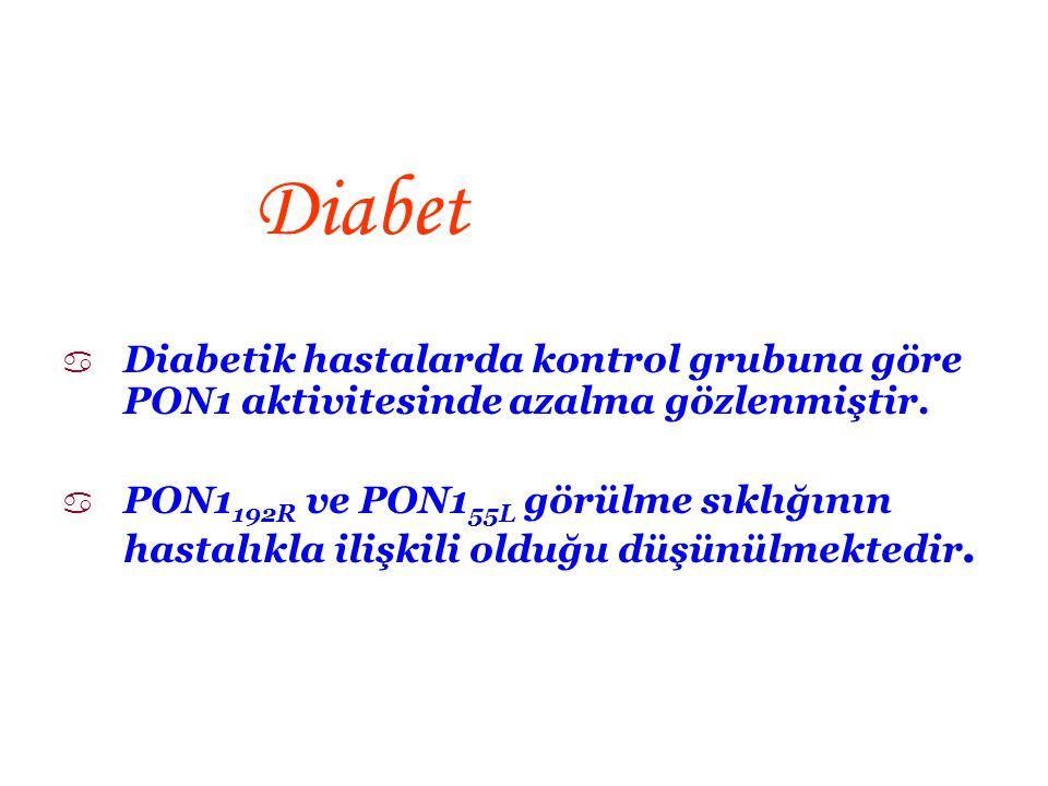 Diabet Diabetik hastalarda kontrol grubuna göre PON1 aktivitesinde azalma gözlenmiştir.