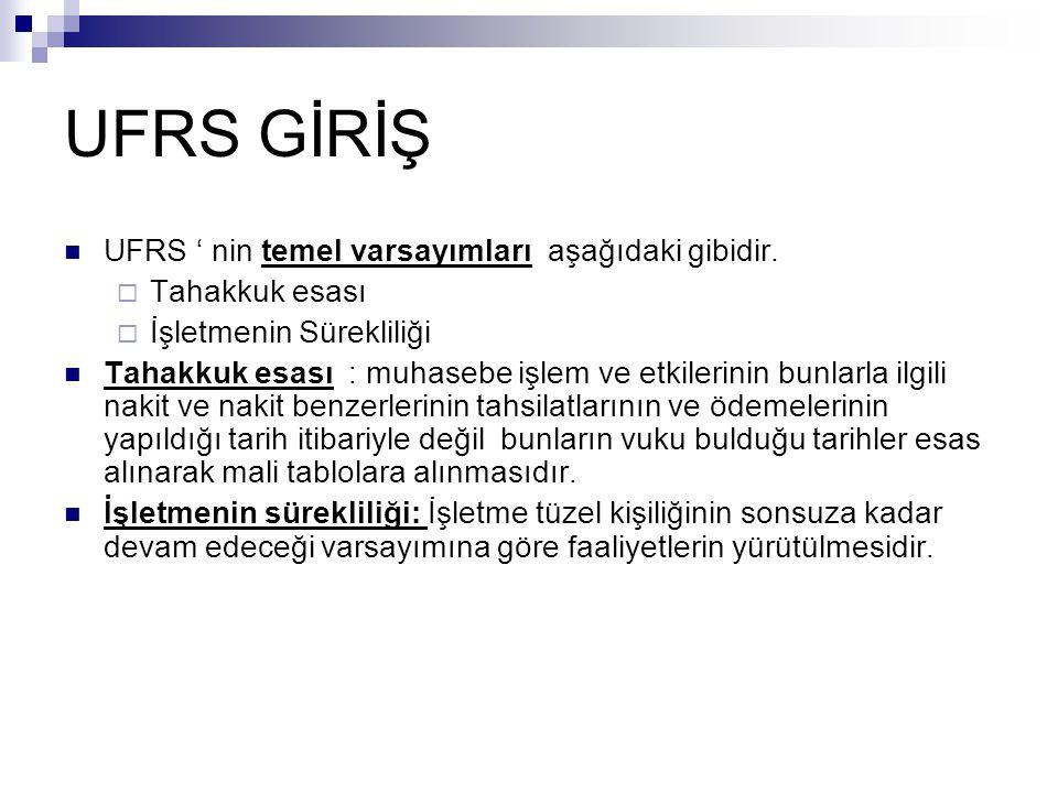 UFRS GİRİŞ UFRS ' nin temel varsayımları aşağıdaki gibidir.