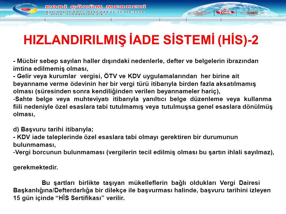 HIZLANDIRILMIŞ İADE SİSTEMİ (HİS)-2