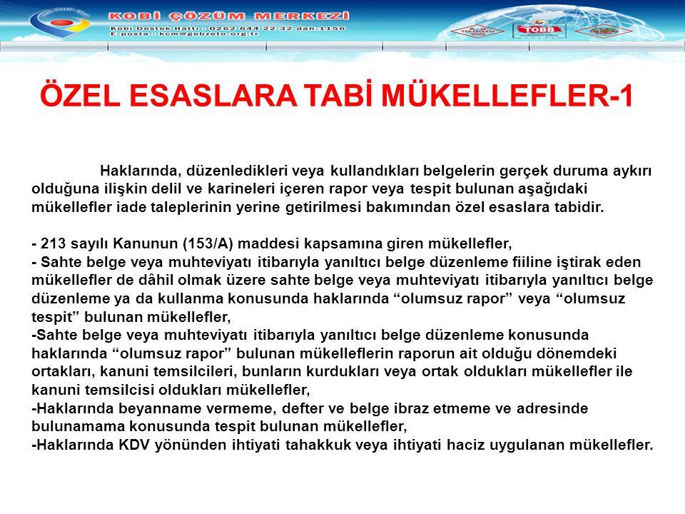 ÖZEL ESASLARA TABİ MÜKELLEFLER-1