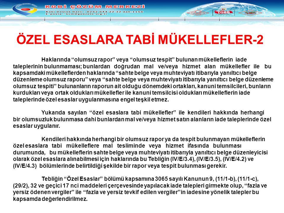 ÖZEL ESASLARA TABİ MÜKELLEFLER-2