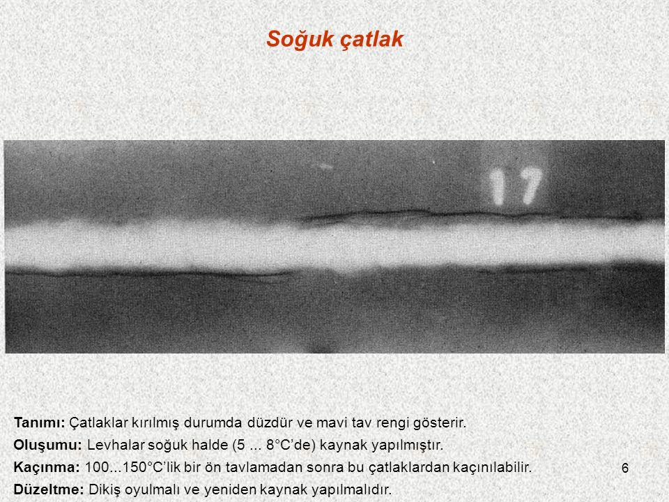 Soğuk çatlak Tanımı: Çatlaklar kırılmış durumda düzdür ve mavi tav rengi gösterir. Oluşumu: Levhalar soğuk halde (5 ... 8°C'de) kaynak yapılmıştır.
