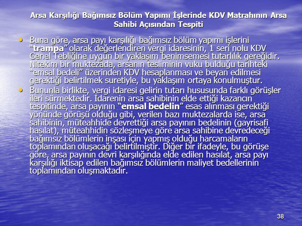 Arsa Karşılığı Bağımsız Bölüm Yapımı İşlerinde KDV Matrahının Arsa Sahibi Açısından Tespiti
