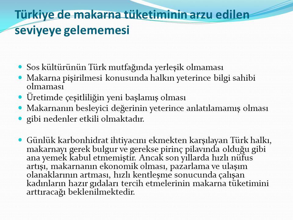 Türkiye de makarna tüketiminin arzu edilen seviyeye gelememesi