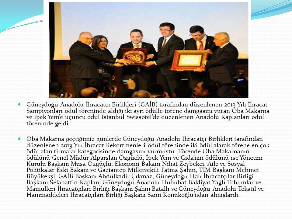Güneydoğu Anadolu İhracatçı Birlikleri (GAİB) tarafından düzenlenen 2013 Yılı İhracat Şampiyonları ödül töreninde aldığı iki ayrı ödülle törene damgasını vuran Oba Makarna ve İpek Yem'e üçüncü ödül İstanbul Swissotel'de düzenlenen Anadolu Kaplanları ödül töreninde geldi.