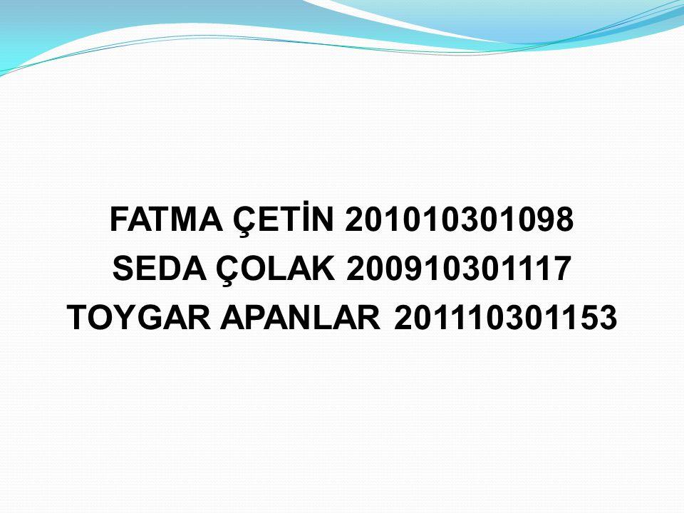 FATMA ÇETİN 201010301098 SEDA ÇOLAK 200910301117 TOYGAR APANLAR 201110301153